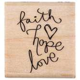 Whimsical Faith, Hope & Love Rubber Stamp